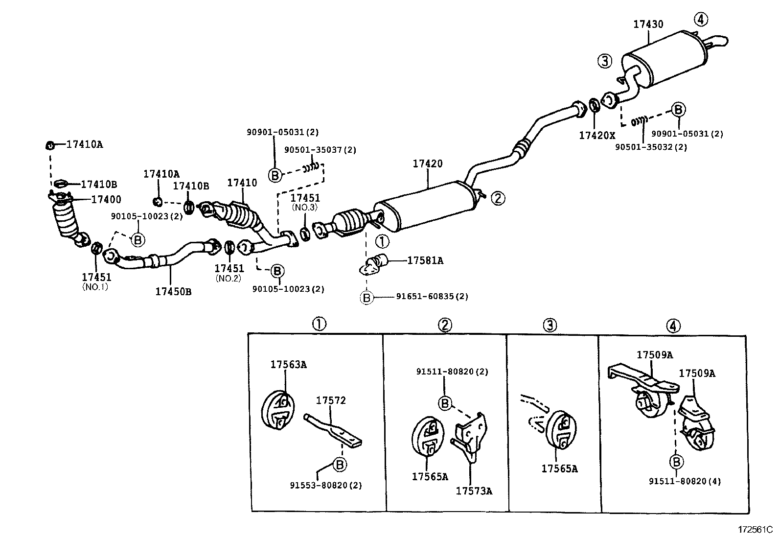 Выхлопная система lexus rx300 схема